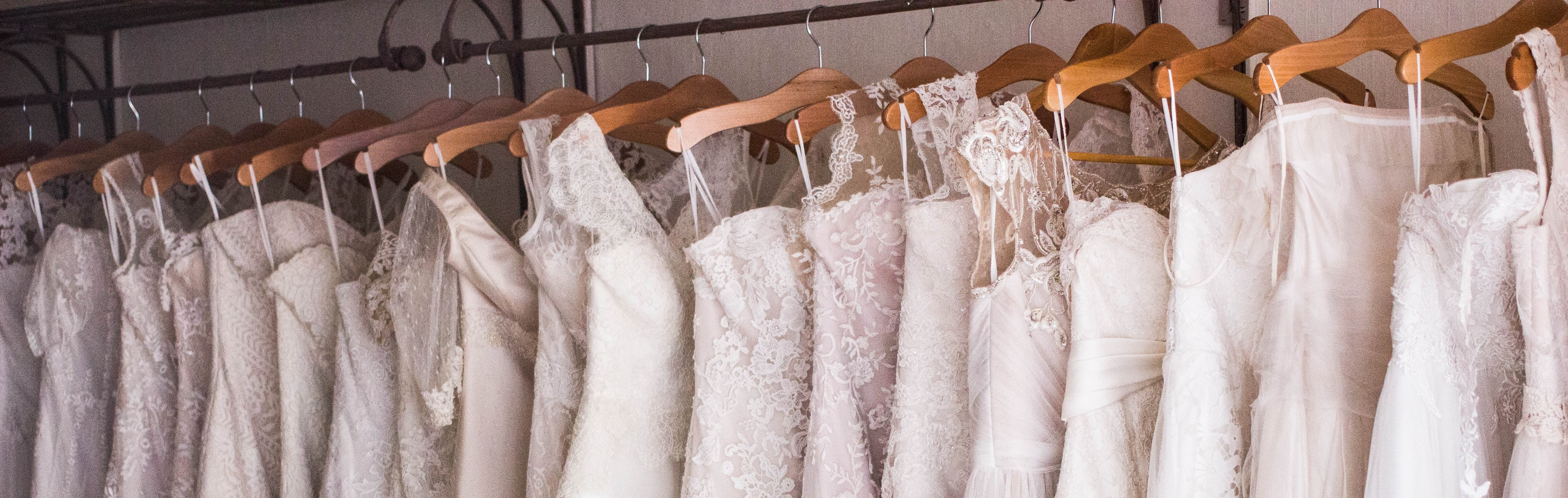 wedding gowns hung up